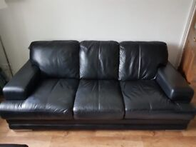 Leather sofa 3 + 2 seater and footstool