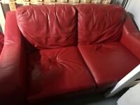 @ seater red leather sofa