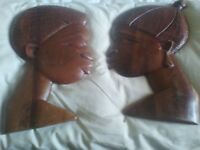 Solid wood african male & female wall plaques