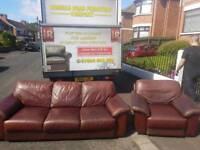 3+1 brown leather sofa