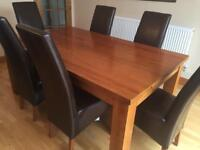 Dining table & 6 faux leather dining chairs