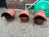 Three terracotta chimney cowls for sale. Sound condition.