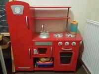 Wooden red retro play kitchen