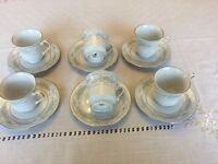 Set of 6 Crown Ming Fine China Tea Cups and Saucers - Jian Shiang