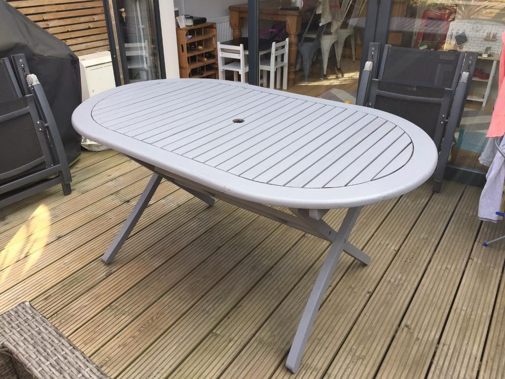 wooden garden table painted grey and 4 chairs in wimbledon london gumtree. Black Bedroom Furniture Sets. Home Design Ideas