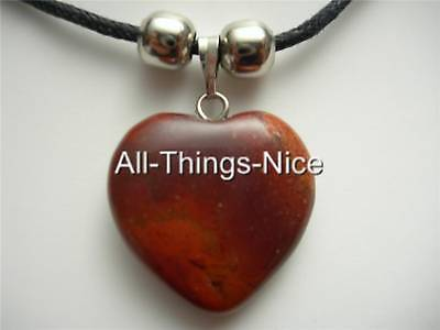 Red Jasper Heart Necklace - RED JASPER Gemstone 20mm Balance LOVE HEART Pendant Necklace Fashion Jewellery