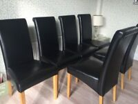 6 black leather dining chairs for sale
