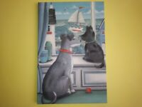 Hand painted original oil painting of dogs etc
