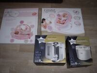 4 BABY ITEMS - TOMMEE TIPPEE STERILIZER-PREP MACHINE- CRADLING BOUNCER-PLAY GYM MAT...WILL SPLIT