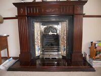 Victorian Style Cast Fireplace & Mahogany Surround
