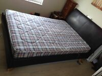 Double Bed (faux leather headboard and frame), mattress