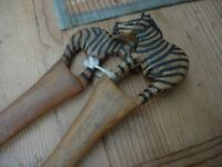 African Zebra Wooden Salad Server Set