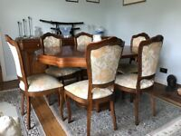 Matching Solid Wood Dining Room Table, Chairs and Sideboard