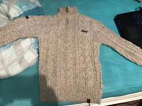 Superdry Sweater CableKnit Half Zip - size Small
