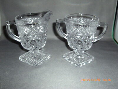 Footed Pedestal Sugar Bowl Spooner & Creamer Clear Glass Imperial Cape Cod