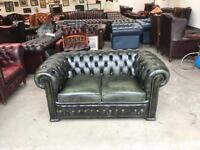Fantastic vintage green leather chesterfield 2 seater sofa deliver