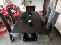 Black/Smoked Glass Dining Table and Chairs