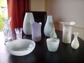 VASES, cut glass, china and pottery.
