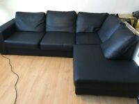 Black Faux Leather Corner Sofa. Good condition. 2 units combined