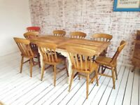 Drop Leaf Rustic Farmhouse Extending Dining Table Set - Painted in F&B Ergonomic, Space Saving