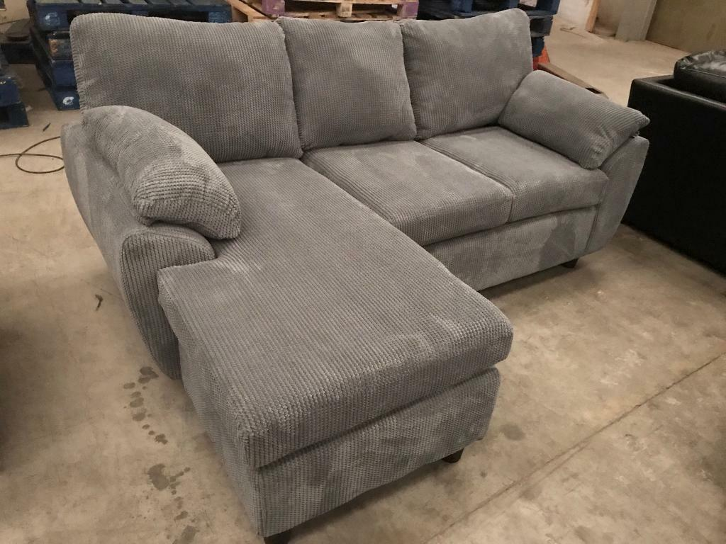 Brand new grey chorded 3 seater chaise sofa