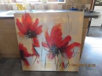 Giant Poppies canvas pictures (pair)