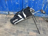 dunlop golf bag with clubs, great starter set in good condition