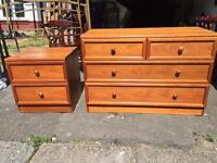 G Plan Teak Solid Wood Chest of Drawer & matching bedside cabinet