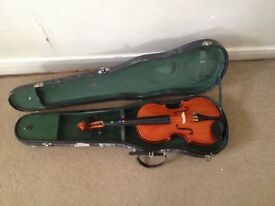 Violin with case, acoustic guitar, 1920 xylophone in original case, dumbbells, cast iron disc