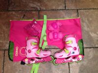 Oxelo Play 3 Kids Childrens Inline Skates 30 31 32 - Ex Condition with Protection Pack & Bag
