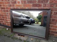 Large brown faux leather mirror