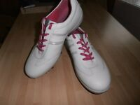 """NEW (Pink trim) """" ECCO """" Ladies Leather Golf Shoes,"""