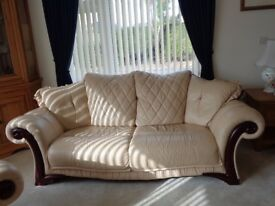 3 piece suite cream leather immaculate condition