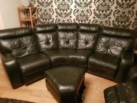 Sofa Suite - Black Leather, Electric Reclining
