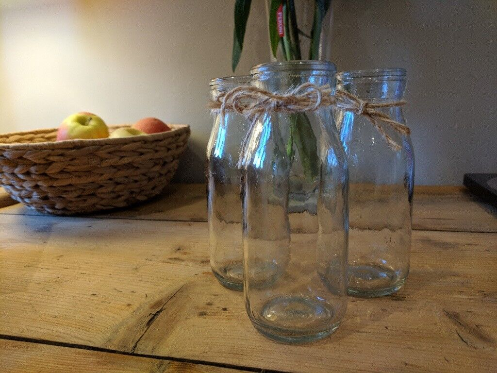 12 Mini milk bottles, flower jars, table decoration, wedding, party