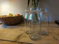 12 Mini milk bottles, flower jars, table decoration, wedding, party