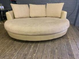 LEATHER SOFA WITH FABRIC CUSHION IN EXCELLENT CONDITION