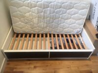 IKEA single Bed Frame comes with two storage boxes with the matters