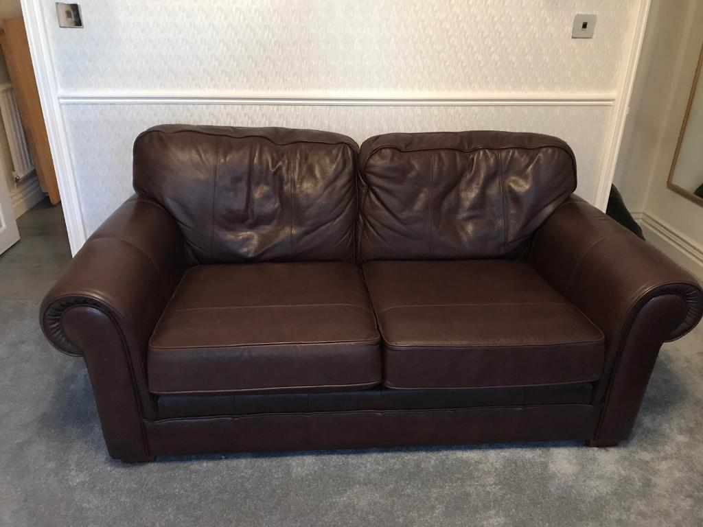 Two M&S brown leather sofas £400 ONO QUICK SALE
