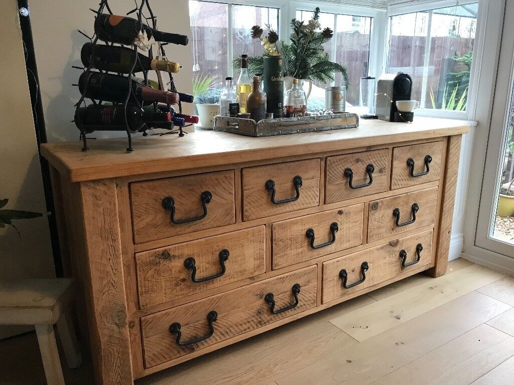 Rustic Solid French Oak Chest Of Drawers/Sideboard