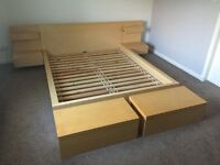 Ikea Malm king size with side tables and storage units