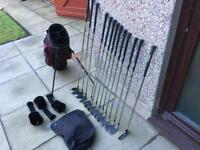 Hippo golf clubs set. Irons. Driver, 3 wood, 5 wood, Putter & Bag. Excellent Condition