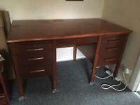 Vintage 1950's twin pedestal office desk