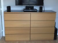 Double bed, drawers, bedside cabinets and shelves - Malm - oak veneer