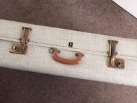 Large vintage beige 1950s suitcase/luggage Crown Luggage