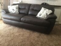 Chocolate Brown 3 seater leather sofa good condition smoke and pet free