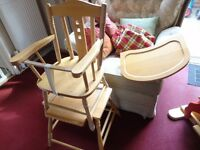 pine high chair table and chair three in one
