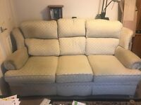 Three seater settee arm chair and hinged pouf
