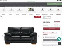 Real leather black sofa two seater