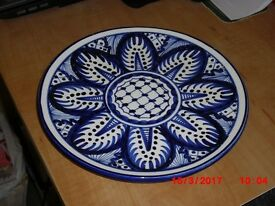 OFFERS WANTED! SPANISH BLUE AND WHITE WALL PLATE, EXCELLENT CONDITION.